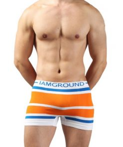 Boxer Briefs Seamless Shorts Orange for Men Underwear Stretchable Drawers Free Size