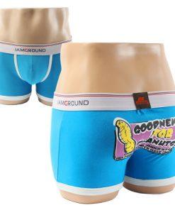Cotton Boxer Briefs Blue Underwear Boxer Shorts for Men