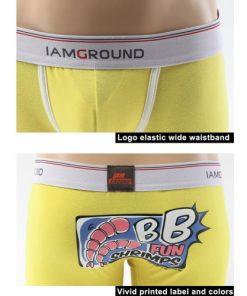 Cotton Boxer Briefs Yellow Underwear Boxer Shorts for Men