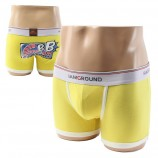 Cotton Boxer Briefs Yellow Underwear Boxer Shorts for Men
