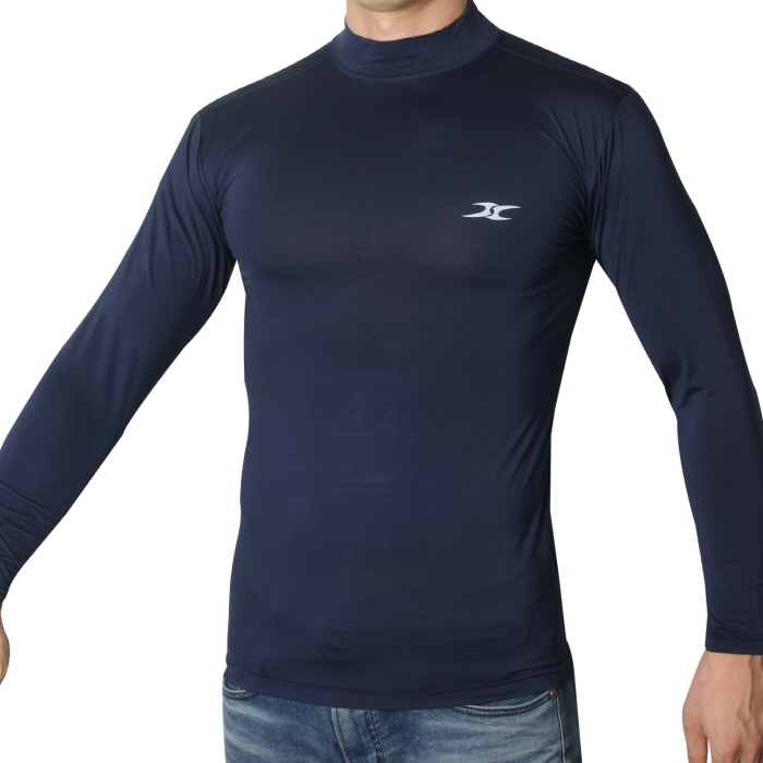 Mock Turtleneck Men Shirts LO Dark Blue Tops - ourunderwear