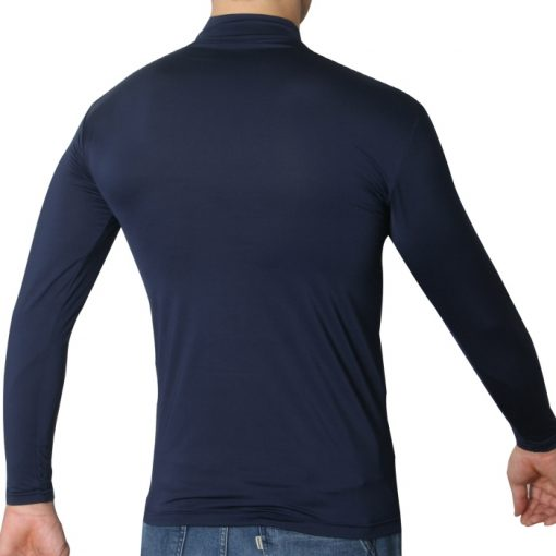 Mock Turtleneck Men Shirts LO Blue