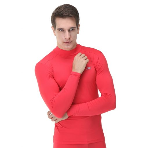 Mock Turtleneck Men Shirts LO Red