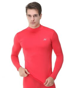 Mock Turtleneck Men Shirts LO Red
