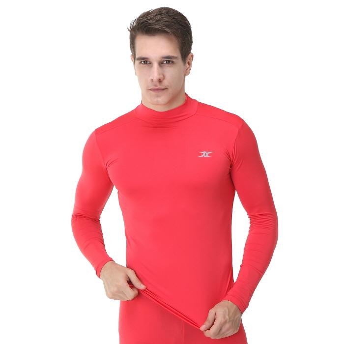 Mock Turtleneck Men Shirts Lo Red Tops Ourunderwear