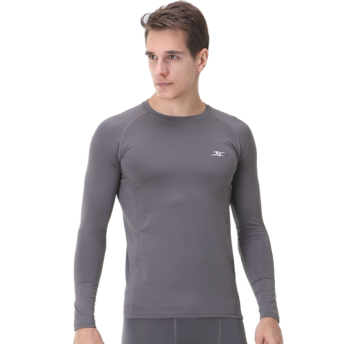 Mens compression shirts ls gray long sleeve ourunderwear for Compression tee shirts for men