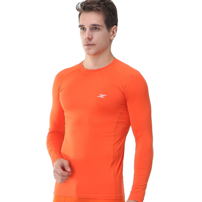 Mens compression shirts ls orange long sleeve ourunderwear for Compression tee shirts for men