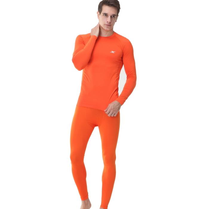 Mens Compression Shirts LS Orange Long Sleeve - ourunderwear