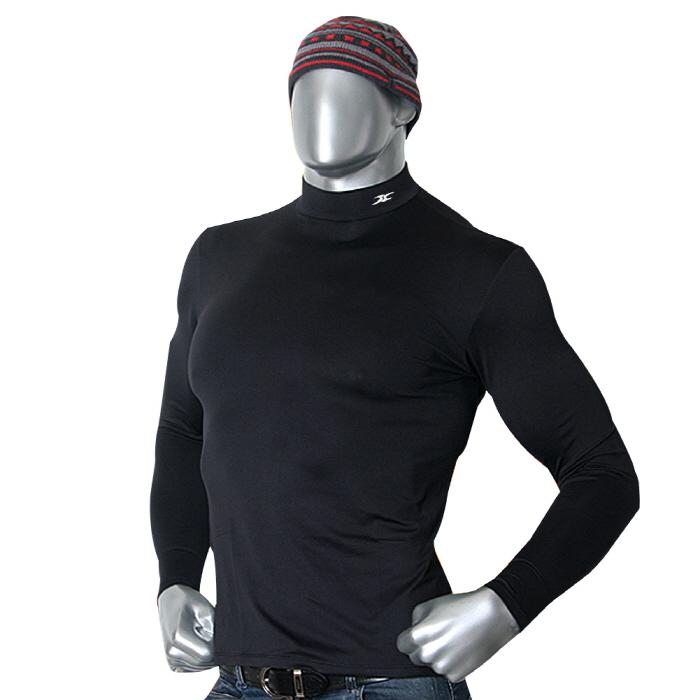 Mock turtleneck men nmm black thermal shirts ourunderwear for Mens black thermal t shirts