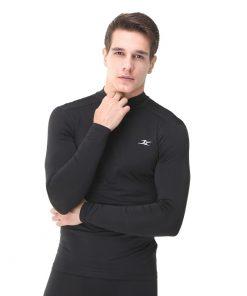 Mock Turtleneck Men Shirts LO Black
