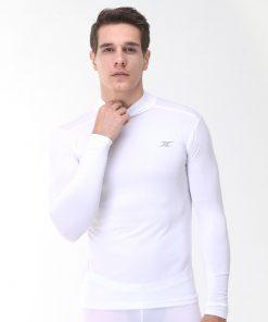 Mock Turtleneck Men Shirts LO White